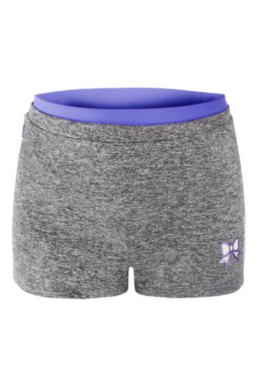sportowe krótkie spodenki z małą kokardką w kolorze fioletowym