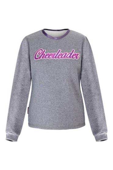 ciepła szara bluza z haftowanym napisem cheerleader