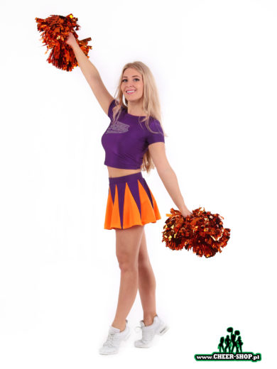 dwu-częściowy strój dla zespołów cheerleaders, składający się ze spódniczki i krótkiego topu