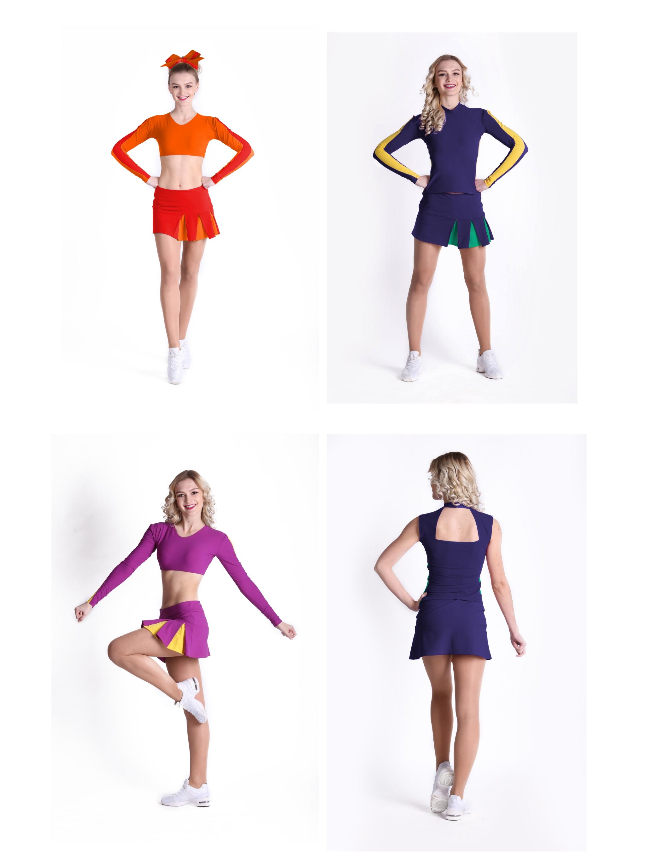 Profesjonalny strój dla cheerleaderek, uniform trzyczęściowy
