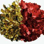 Złoto- czerwone pompony stworzone specjalnie dla cheerleaderek i mażoretek