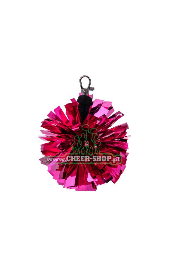 mini breloczek, pompon w kolorze rozowym