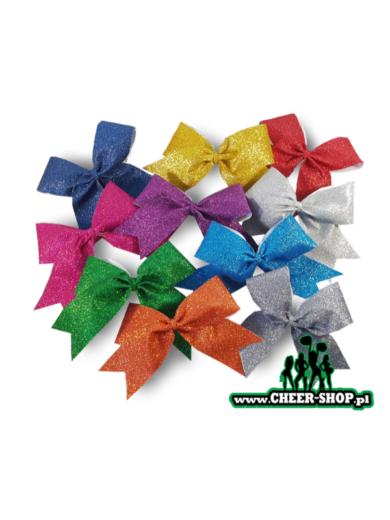 wszystkie dostępne kolory małych brokatowych kokardek dla cheerleaders