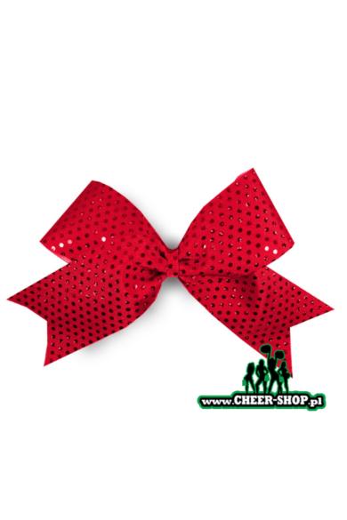 czerwona profesjonalna kokardka dla cheerleaderek